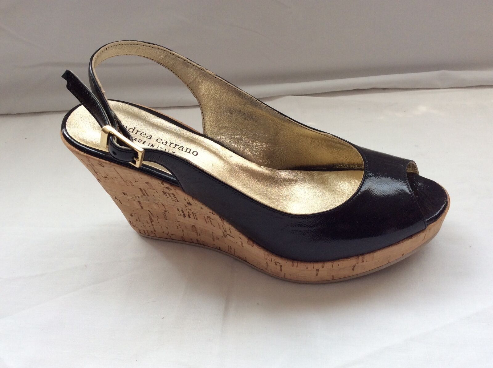 Andrea Carrano nero Pattent Leather Cork Wedges Sz 38 B