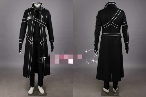 Sword Art Online Complete set Cosplay kirito Costume@j8 NEW Black SAO