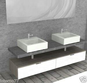 Mobile da bagno pk02 con piano sospeso doppio lavandino top pietra ebay - Piano lavandino bagno ...