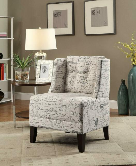 Astonishing Poundex Bobkona Prissy Accent Chair In Abstract Script White Evergreenethics Interior Chair Design Evergreenethicsorg