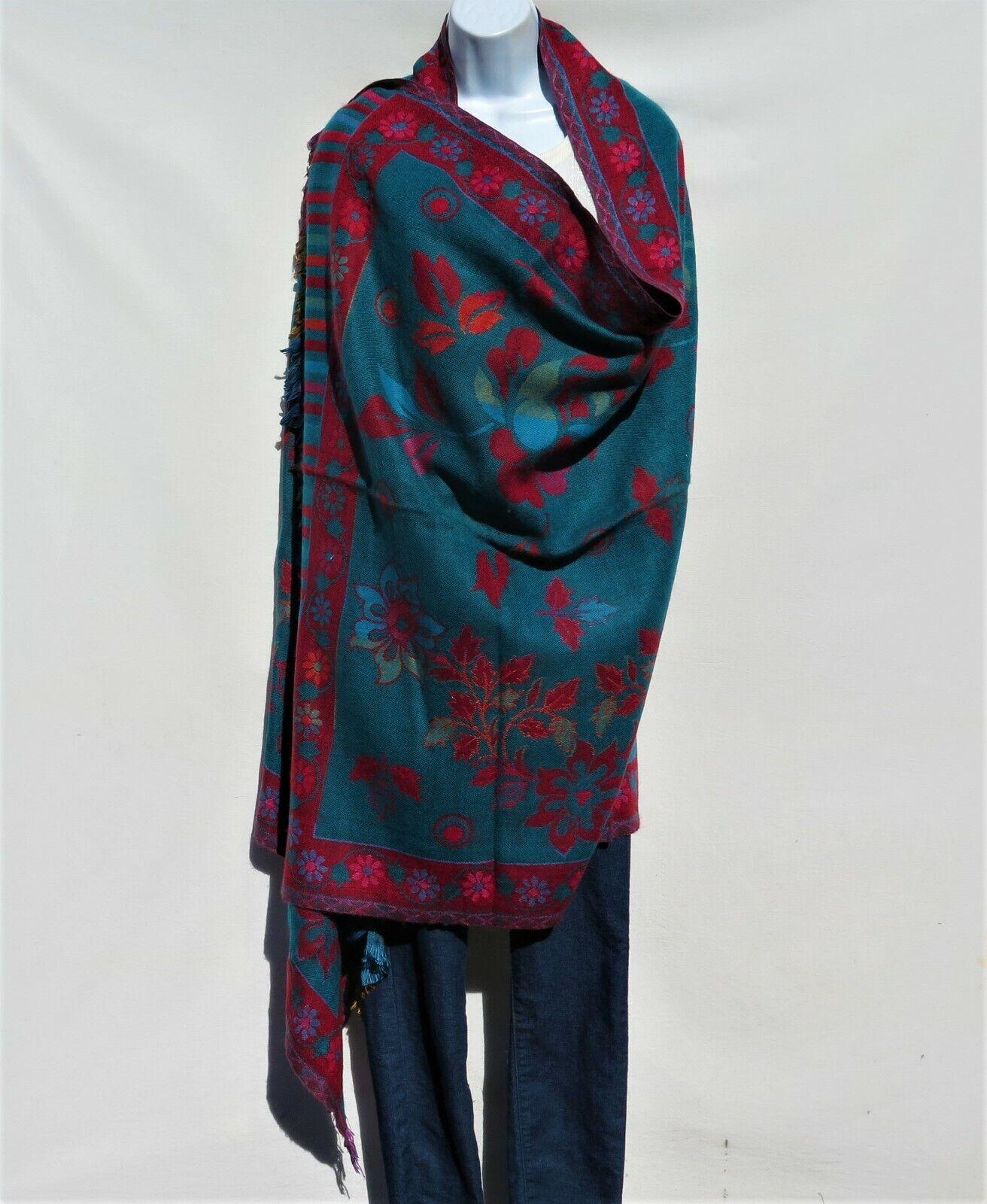 Yak+Sheep Wool Flora Shawl Throw Wrap  Handloomed Reversal Base color  Teal
