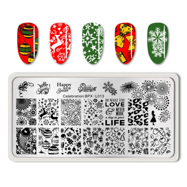 born pretty celebration nail art stamp plate new year theme manicure template