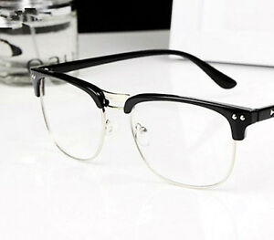 Rimless Geek Glasses : Fashion New Vintage Semi-Rimless Glasses Optical Clear ...