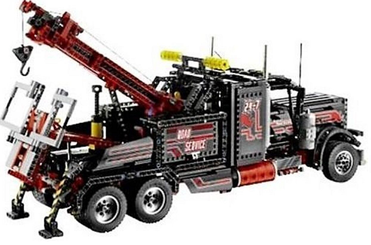 Lego Technic 8285-negro abschlepptruck con motor + 6 plateadas llantas.