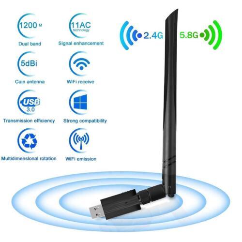 USB 3.0 1200Mbps Dual-band WiFi Receiver 5G//2.4G 5dBi Antenna WIFI Key Adapter