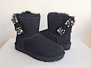 67caf78fe46 Details about UGG CLASSIC MINI BAILEY BOW BRILLIANT BLACK BOOT US 12 / EU  43 / UK 10.5
