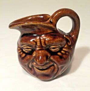 Vintage-Doulton-Style-Brown-Glaze-John-Barleycorn-Face-Mini-Pitcher-3-034-Folk-Art