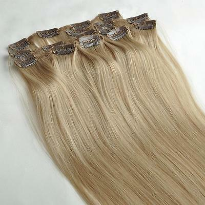 "16"" New Fashion Clips in Remy Real Human Hair Extensions 7pcs/set Silk Straight"
