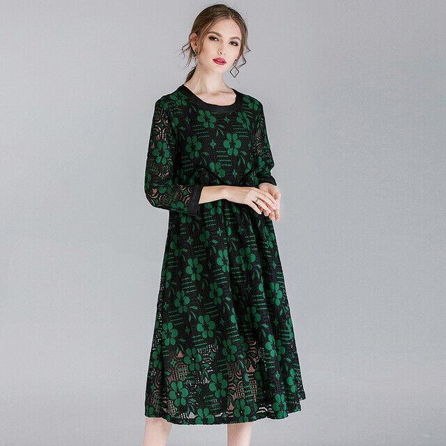 Elegante Elegante Elegante vestito abito maxi amplio nero verde fiori scampanato morbido 4965 081250
