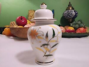 Otagiri-Porcelain-6-034-Ginger-Jar-With-Lid-Cream-Colored-With-Lilies-amp-Gold-Trim