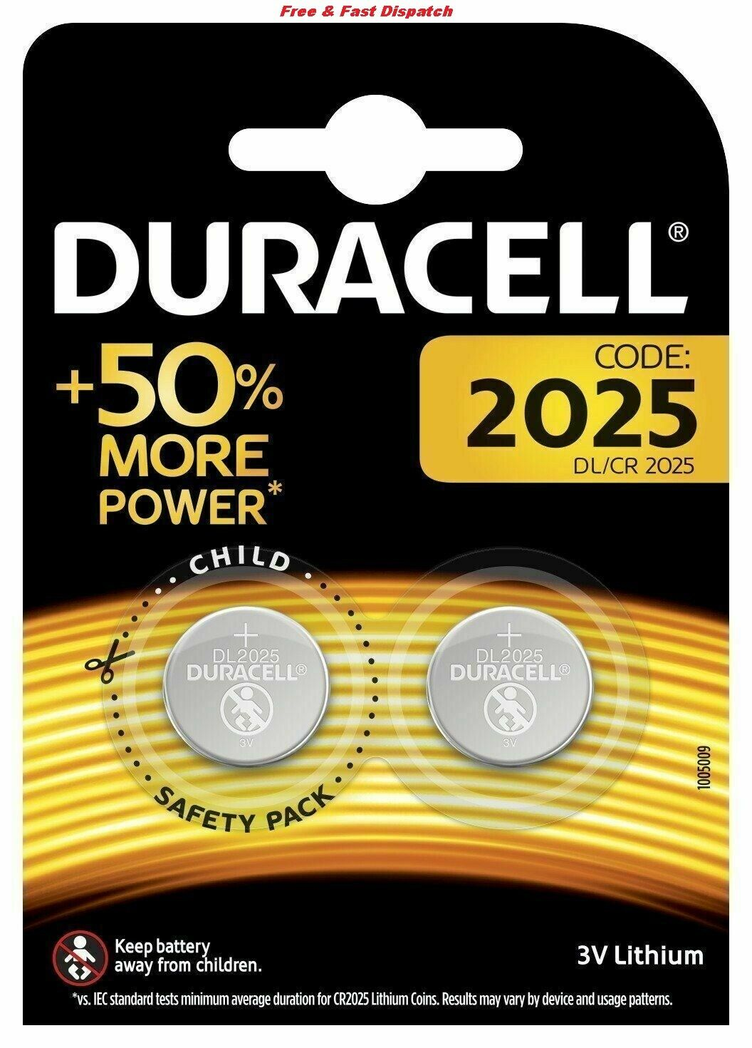 Duracell CR2025 batteries Lithium Coin Cell DL2025 3V Pack of 2 **AUTHENTIC