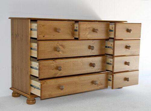 Massivholz Sideboard 9 Schubladen kommode Kiefer honig Anrichte Wäsche-schrank