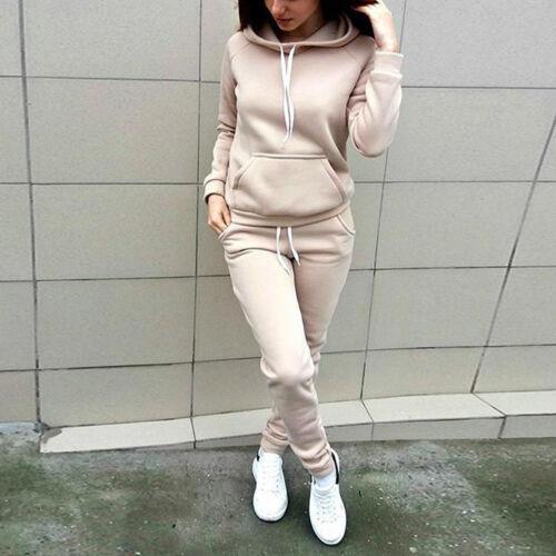 2Pcs Womens Tracksuit Hoodies Sweatshirt Pants Sets Sports CP