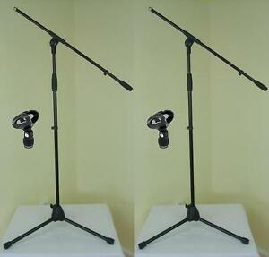 2-x-ADAM-HALL-Mikrofon-Staender-ECO-mit-Mikrofonklemme-und-Galgen-Mikrofon-Stativ