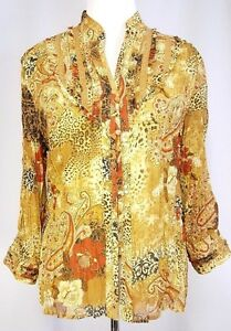 Coldwater-Creek-Shirt-Size-M-Crinkle-Lined-Paisley-Floral-Ruffle-Button-Down