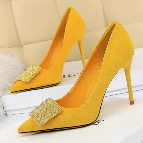Women Rhinestone Closed Pointy Toe Stiletto High Heels Wedding Dress Pumps Shoes
