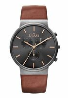 Skagen Mens Ancher Pvd Chronograph Watch, Leather Strap, Black Dial, Skw6106