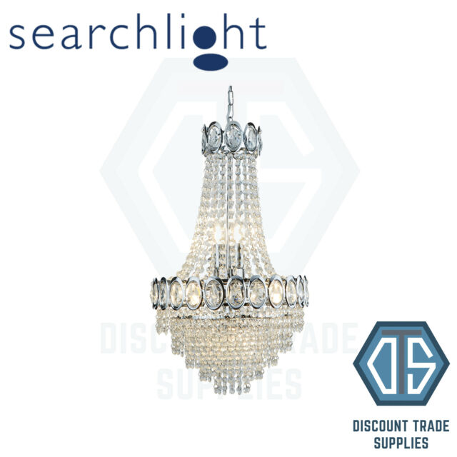 1 x Louis Philippe Chrome 11 Light Chandelier With Crystal