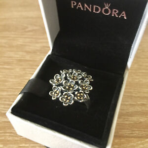 34ad614a6b67e Details about New Pandora Forever Bloom 14K Gold&Blk Spinel Sterling Silver  Ring190857SPB $340