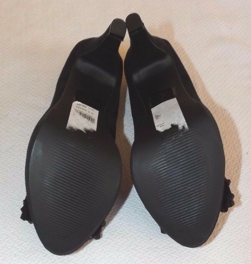 NEW 5 DORTOTHY PERKINS UK 5 NEW EUR 38 schwarz BEADED BOW PEEP TOE schuhe 4  SLIM HEEL ab175d