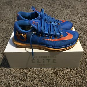 buy popular 54802 75b48 Image is loading Nike-KD-VI-Elite-Photo-Blue-Team-Orange-