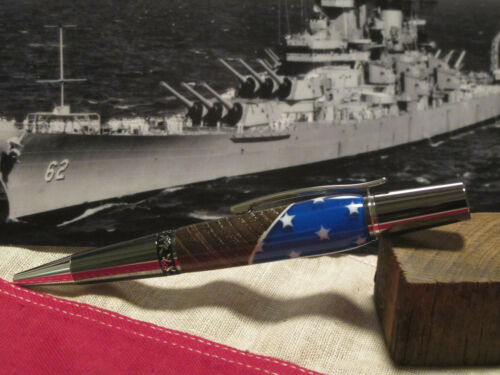 U.S.S. New Jersey Authentic Wood Deck Relic Pen UNIQUE GIFT PATRIOTIC WWII