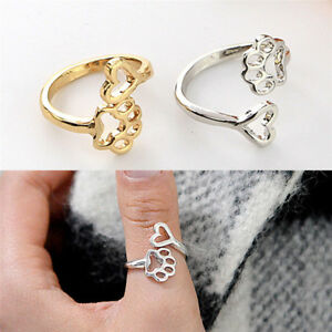 90b816ec8b5ad Details about Always By My Heart Cute Adjustable Ring Footprints Heart  Jewelry For Dog OwnerHG