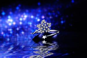 1Ct Round Cut Diamond Dual Star Design Engagement Ring 14K White gold Finish