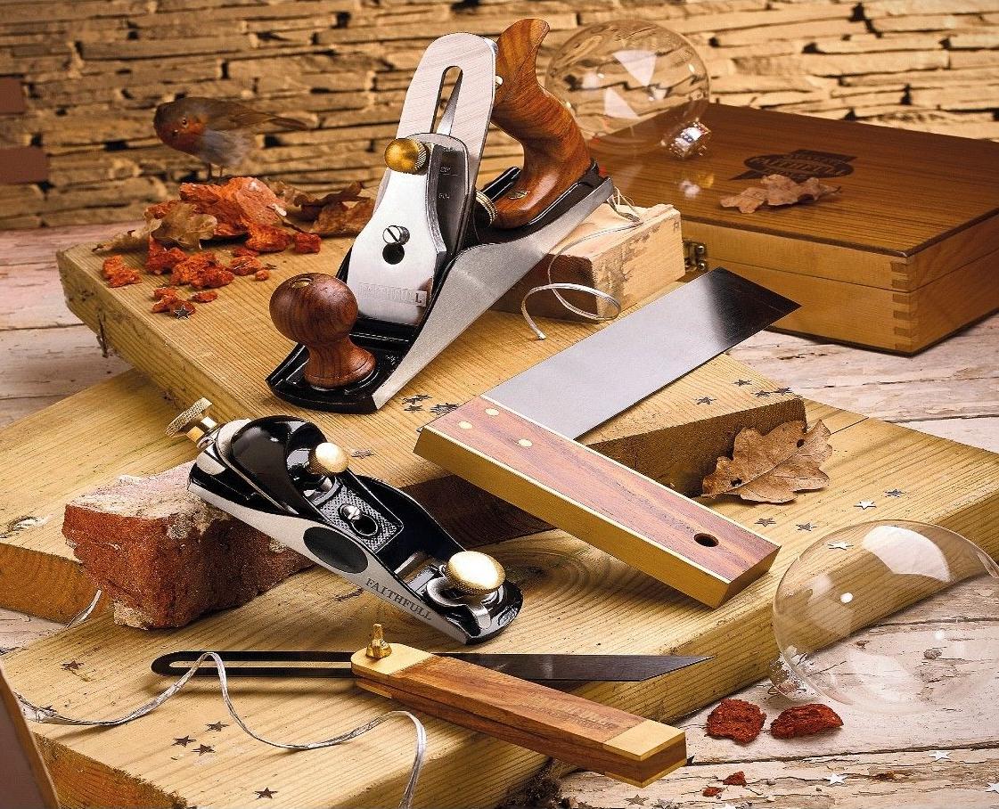 Faithfull 4 Piece Carpenters Tool Set in Wooden Presentation Box, Ideal Gift