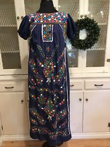 Mexican Wedding Dress Small Med Vintage Navy Blue Maxi Style True Vintage Piece Ebay
