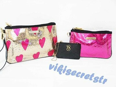 Victoria's Secret SUPERMODEL ESSENTIALS Cosmetic Bag Id Holder GlitterTrio NWT