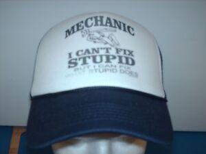 Mesh-Foam-trucker-hat-ball-cap-Navy-Blue-Mechanic-Can-039-t-Fix-Stupid-Can-Fix