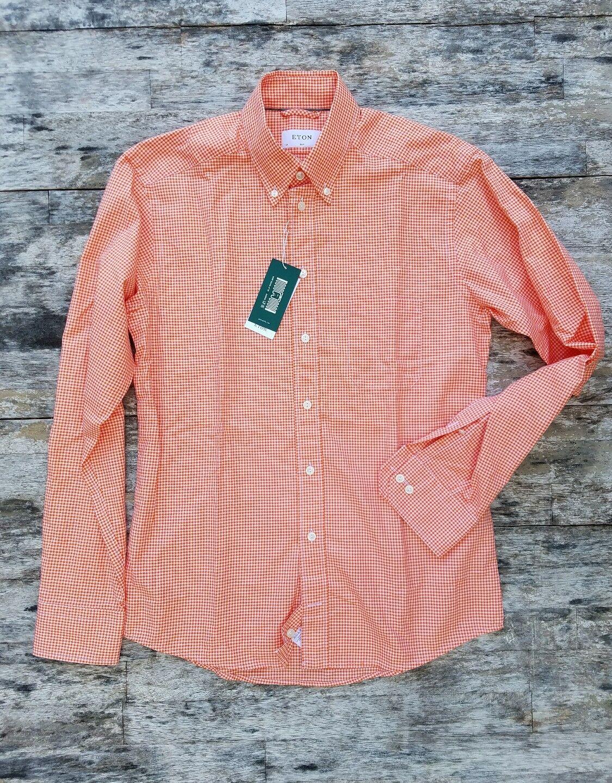 New  ETON of Sweden slim fit [M] medium summer orange gingham button down