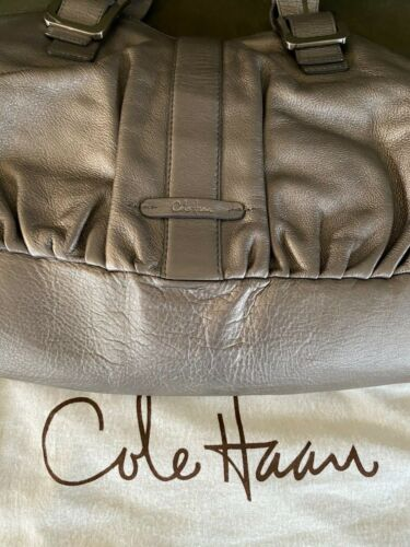 Cole Haan Tripple Zipper Satchel Vintage Soft Silv