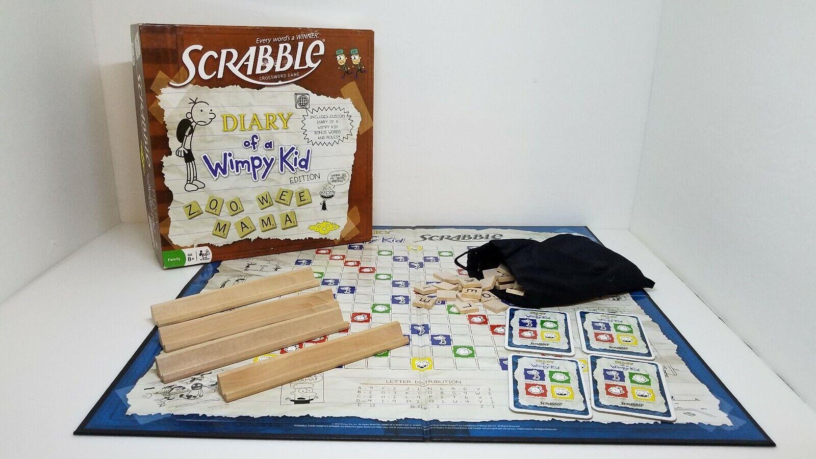 Scrabble Diary Of A Wimpy Kid Edition  Hasbro 2010 Crossword Game EUC