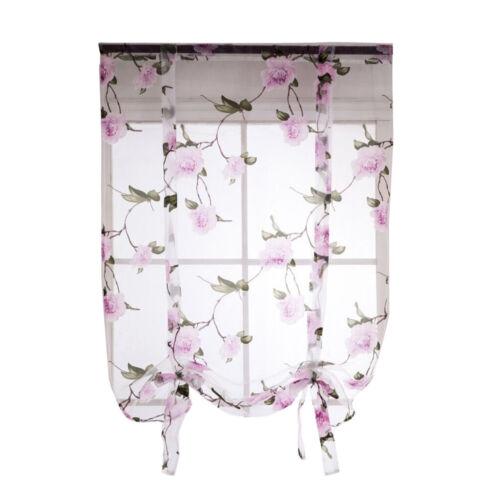 Beauty Floral Roman Curtain Sheer Rod Pocket Tab Top Window Voile Drape Sheer