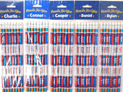 8PK PERSONALISED NAME PENCILS CHARLIE CONNOR COOPER DANIEL DYLAN BOYS LEARN