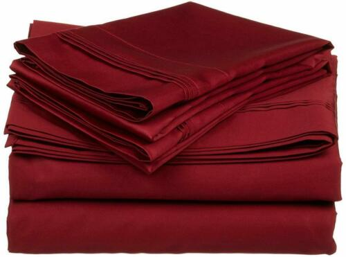 Olympic Queen Sheet Set Triple Pleated 600 Thread Count 100/% Cotton Sateen Solid