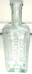 FREE SHIPPING - Antique Aqua Blue Medicine Bottle Dr. Miles Restorative Nervine