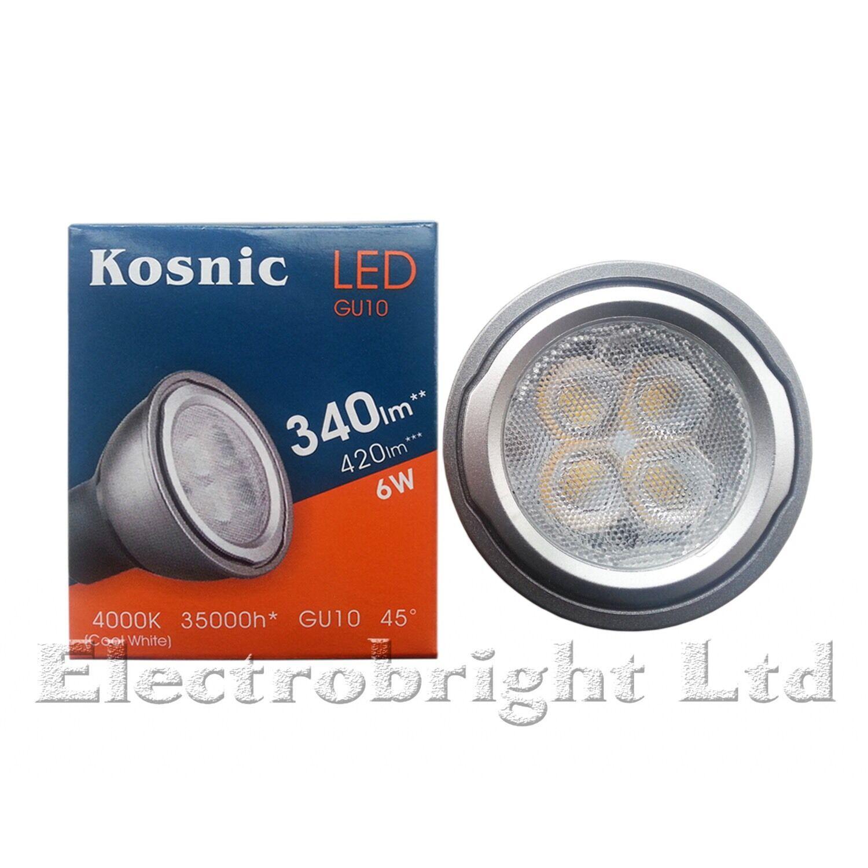 6x Kosnic 6w watt LED GU10 Power COOL White 4000k Superbright spot bulb 420lm UK