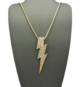 Iced out pave thunder bolt pendant 2mm 24 box chain hip hop image is loading iced out pave thunder bolt pendant 2mm 24 mozeypictures Image collections