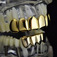 Grillz Set 14k Gold Plated 6 Six Top & 4 Four Bottom Teeth Hip Hop Combo Grills