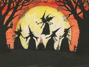 1.5x2 DOLLHOUSE MINIATURE PRINT OF PAINTING RYTA 1:12 SCALE WITCH HALLOWEEN OWL