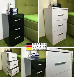 nachtkommode boxspringbett nachttisch nachtkonsole 3schub wei schwarz hochglanz ebay. Black Bedroom Furniture Sets. Home Design Ideas