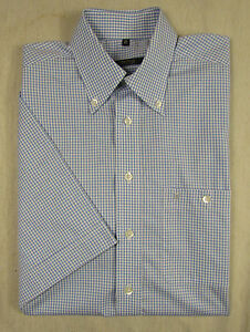 Feines-ETERNA-Kurzarm-Hemd-Baumwolle-blau-weiss-kariert-Gr-KW-40