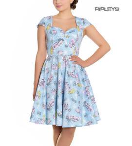 Hell-Bunny-Pin-Up-Blue-Mid-Length-50s-Dress-CORALIA-Andrina-Mermaid-All-Sizes
