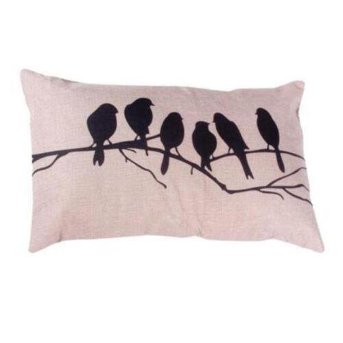 Rectangle Vintage Cotton Linen Throw Waist Pillow Case Cushion Covers Sofa Decor