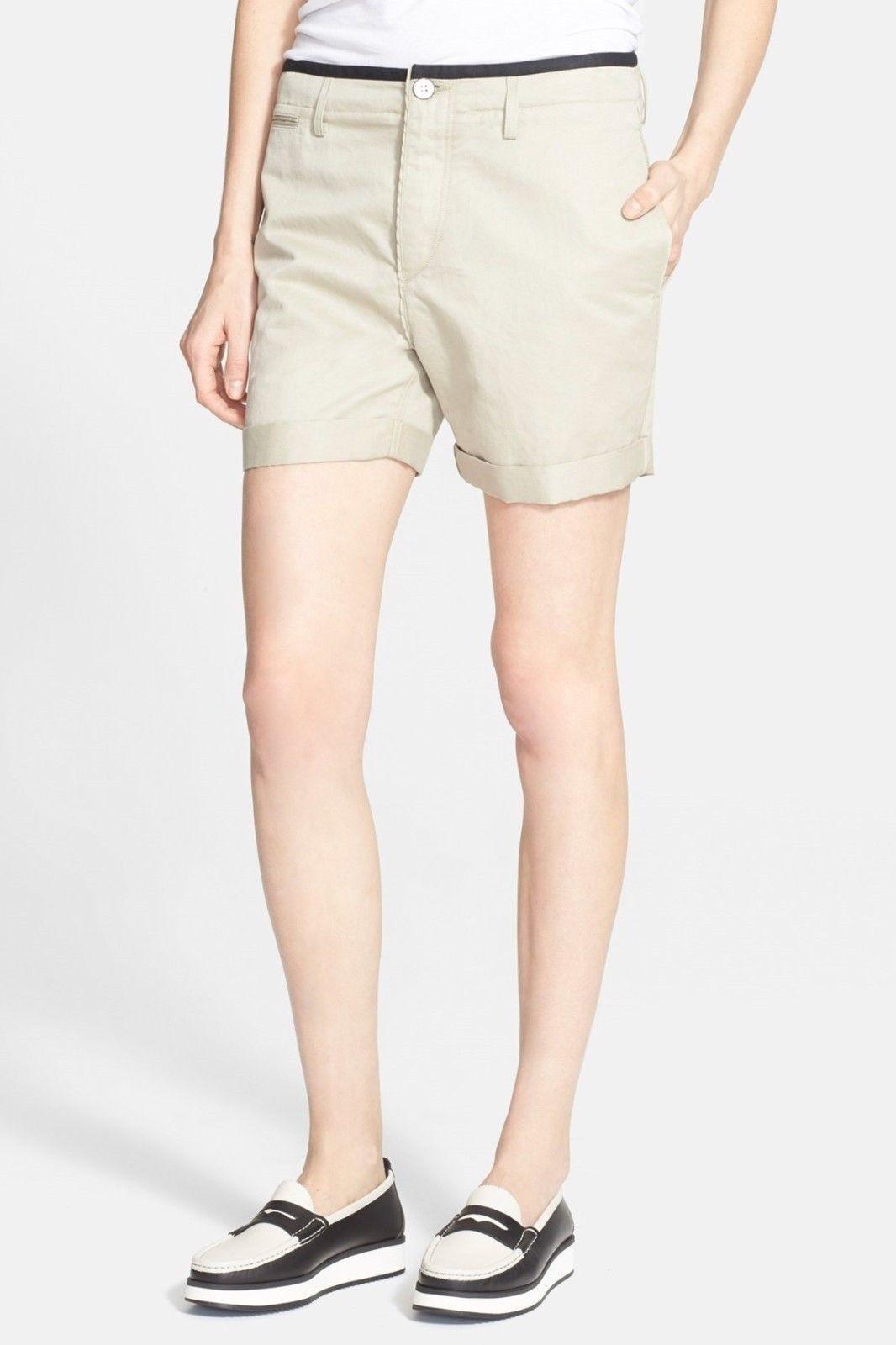 Rag & Bone Ashbury Boyfriend Linen Blend Beige Shorts 0