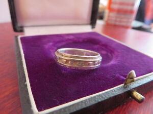 Grosser-925-Silber-Ring-Schwer-Rillen-Muster-Schlicht-Abstrakt-Retro-Vintage-Top