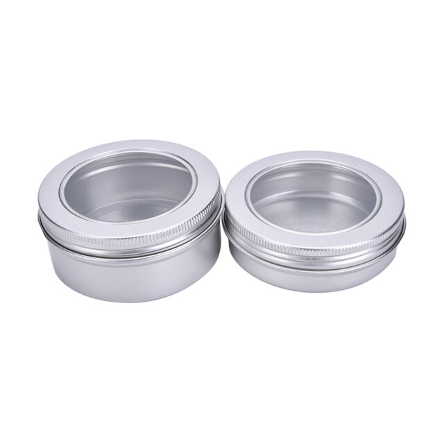 Empty Aluminium Pots Container Jar Tins Clear Top View Window 100/150ml abus
